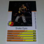 Action Man Power Cards 1996 Snake Eyes error Stalker Trading card @sold@